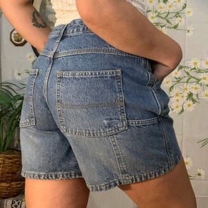 Vintage denim high waisted carpenter mom shorts